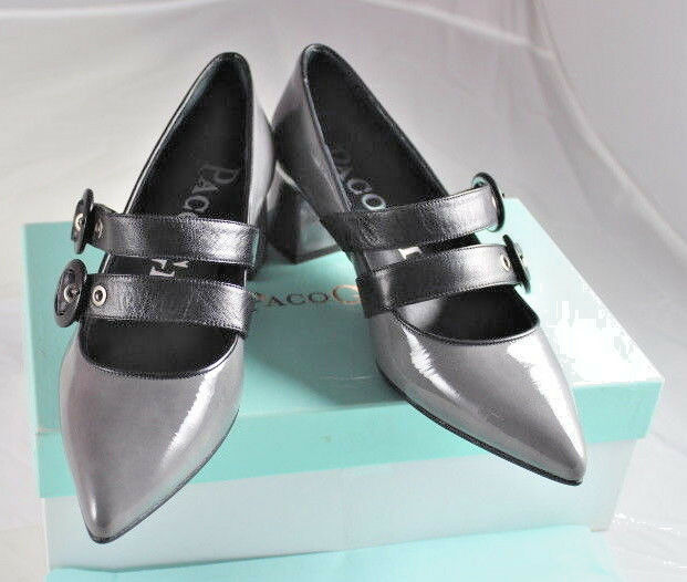 PACO GIL Damen Pumps Schuhe Lackleder Leder grau schwarz Riemen Gr 36 NEU W23
