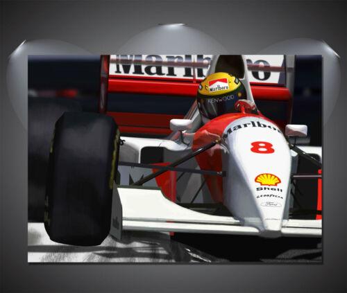 Ayrton Senna F1 Car Vintage CANVAS Art Print A0 A1 A2 A3 A4