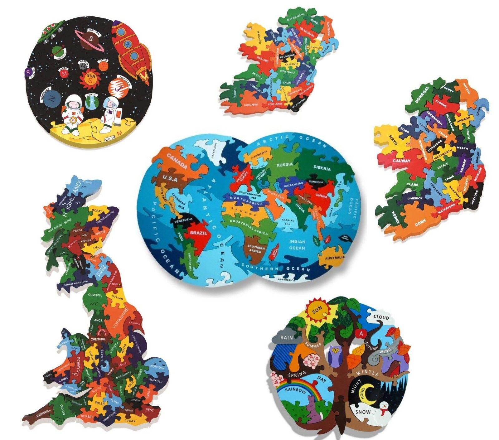 Alphabet Jigsaw Wooden Map Puzzles in World Britain Ireland Seasons or Solar