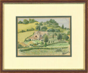 J-M-Edwards-Signed-and-Framed-20th-Century-Watercolour-The-Farmlands