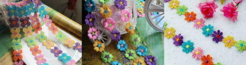 Multi Colour Flower Embroidery Lace Trimming x 2 Metres Choose A Deisign