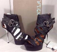 Ny La High Heels Fur Womens Shoes Size 9 1/2 Silver Black Leather Open Toe