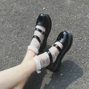 Women-Patent-Leather-Round-Toe-Ankle-Strap-Lolita-Mary-Janes-Ladies-Shoes-Size