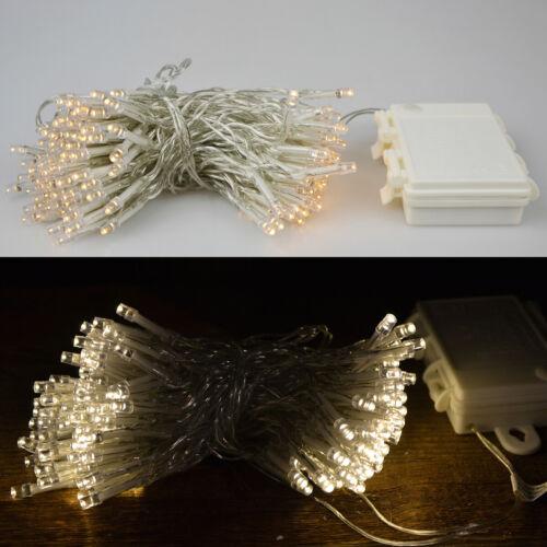 Indoor Outdoor LED Lichterkette mit TIMER batterie warmweiss 24//48//96//144 er