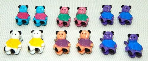 12 Colorful Assorted Mini Small Plastic Teddy Bear Hair Clips Claws Clamps New