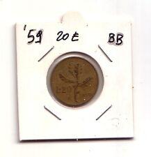 Repubblica Italiana   20 lire 1959   Ramo di Quercia     Bronzital   BB   (m877)