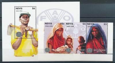 Karibik Nevis Streifen 939-41+bl.97** 50 Jahre Welternährungsorganisation Neue Sorten Werden Nacheinander Vorgestellt Begeistert 270363