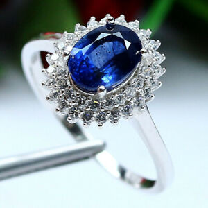 NATURAL-6-X-8-mm-OVAL-BLUE-SAPPHIRE-amp-WHITE-CZ-RING-925-STERLING-SILVER