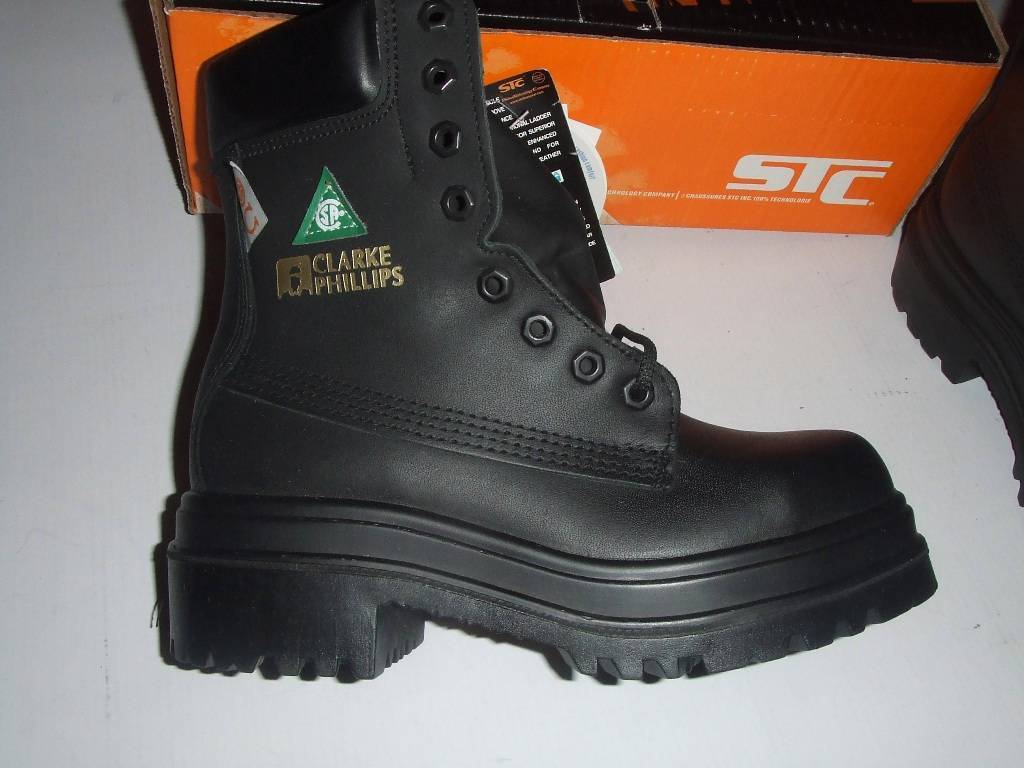 STC Clarke Phillips Safety Workboots Boots CSA Waterproof Leather Size 4 NEW
