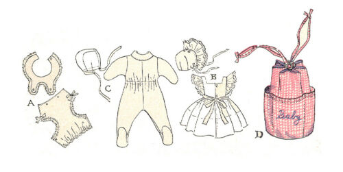 """Vtg Pattern Dress Romper Baby Doll Clothes ~ 11/"""" Dy Dee Tiny Tears Betsy Wetsy"""