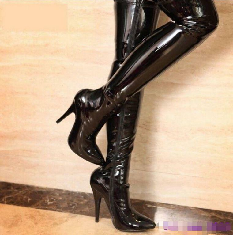 Womens Pointed Toe Patent Leather High Heels Thigh Stiletto Over the Knee Boots