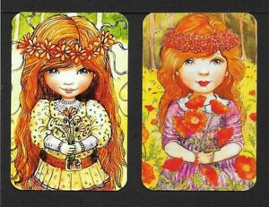 Swap-Playing-Cards-2-Single-Cards-Lovely-Bright-Girls-Modern-Blank-Back