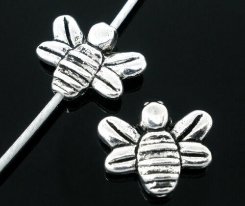 74F 15 SILVER TONE HONEY//BUMBLE BEE CHARM//SPACER BEADS ~14x12mm~Jewellery~Jams
