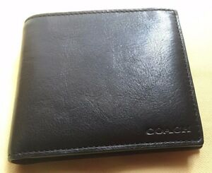 NWT COACH BLEECKER LEGACY COMPACT ID WALLET IN LEATHER BLACK F74345