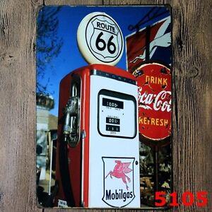 Metal Tin Sign route 66 gas station Bar Pub Vintage Retro Poster Cafe ART