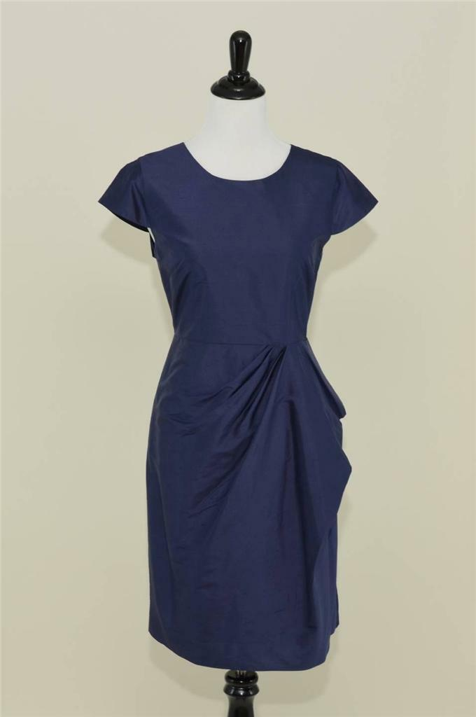NEW J.CREW  CARSON DRESS IN SILK DUPIONI 4 DARK NAVY blueE BRIDESMAID PARTY