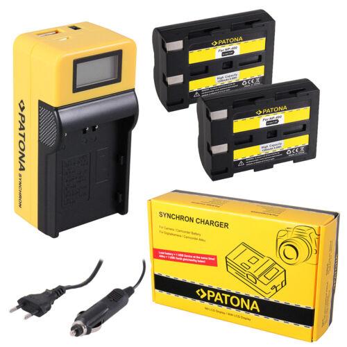 caricabatteria Synchron LCD USB per Minolta Dynax 5d 2x Batteria Patona