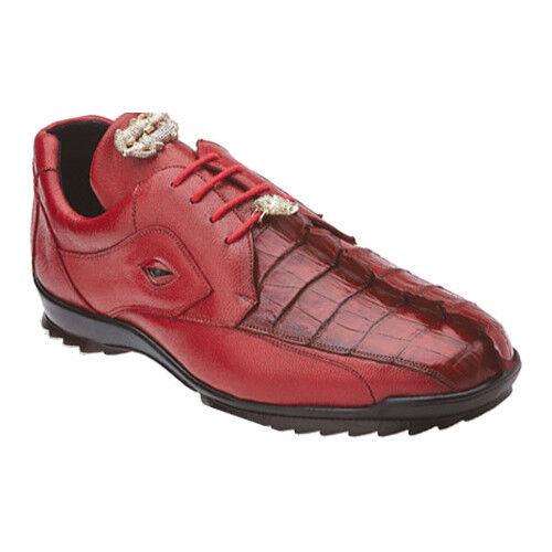 Men's Vasco Belvedere Hornback Crocodile Soft Calf Sneaker Shoes Red 336122