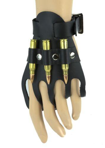 Glove Bracelet  Genuine Leather Real .223 Bullets Punk Goth Bikers Rockabily