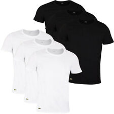 Lacoste Mens 2020 TH3451 Crew Neck Cotton Ribbed Crocodile 3 Pack T-Shirt