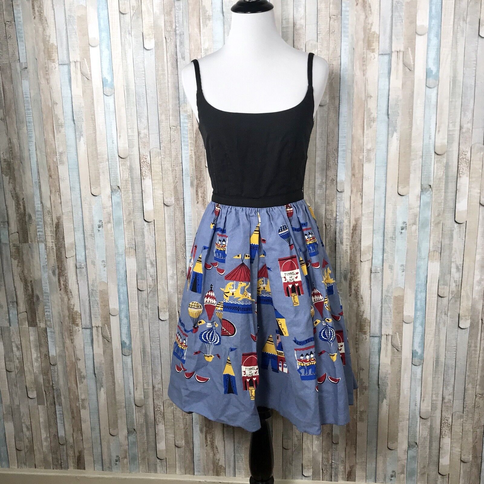 Anthropologie 0 Anna Sui Fit Flare Carnival Novelty Print County Fair Tank Dress