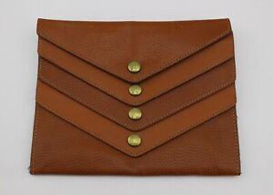 LEVENGER Tan Brown Multi 4 Slot Pocket Envelope Clutch Wallet Rare