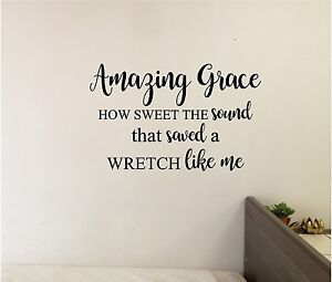 amazing grace wall lettering mural vinyl decal bible verse quotes ebay