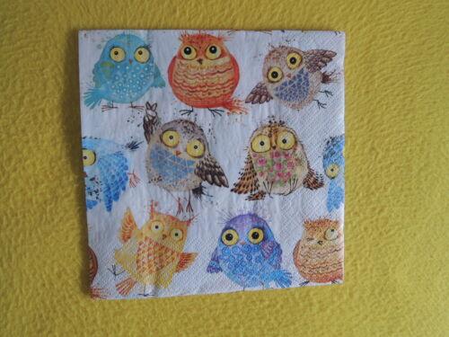 5 Servietten Eulen viele bunte CRAZY OWLS Serviettentechnik Vögel napkins Muster