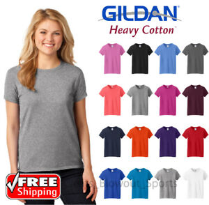 b6f0eb20547 Gildan Ladies Heavy Cotton Blank T-Shirt Short Sleeve Casual Soft ...