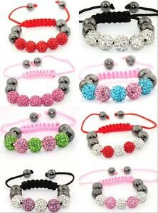 Fashion-Children-Jewellery-Kids-Shamballa-Bracelet-Baby-Gift-10MM-Crystal-Beads