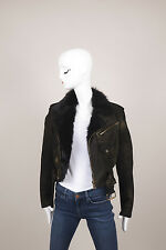 Ralph Lauren Purple Label Black/Gold Print Shearling Leather Crop Jacket SZ 6