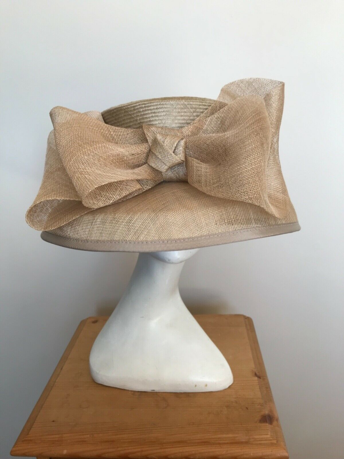 New Taupe Hat with Front Bow Detail by Headways for Frank Usher - Wedding Races