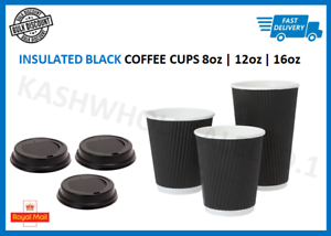 Details about 8oz|12oz|16oz Black Insulated Disposable Paper Coffee Cups Ripple Paper Cups