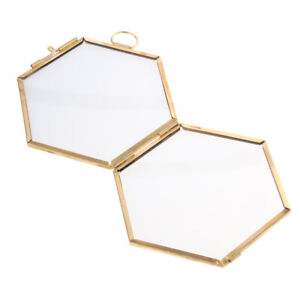 Set of 4 Antique Hexagon Metal/& Glass Hanging Floating Picture Photo Frame Black