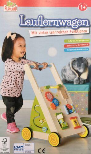 Playland Lauflernwagen Laufwagen Laufhilfe Holz Baby Walker einstellbare Bremse