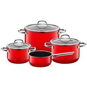silit passion red topfset 4 teilig rot 4tlg silargan induktion glasdeckel set 4004633297383 ebay. Black Bedroom Furniture Sets. Home Design Ideas
