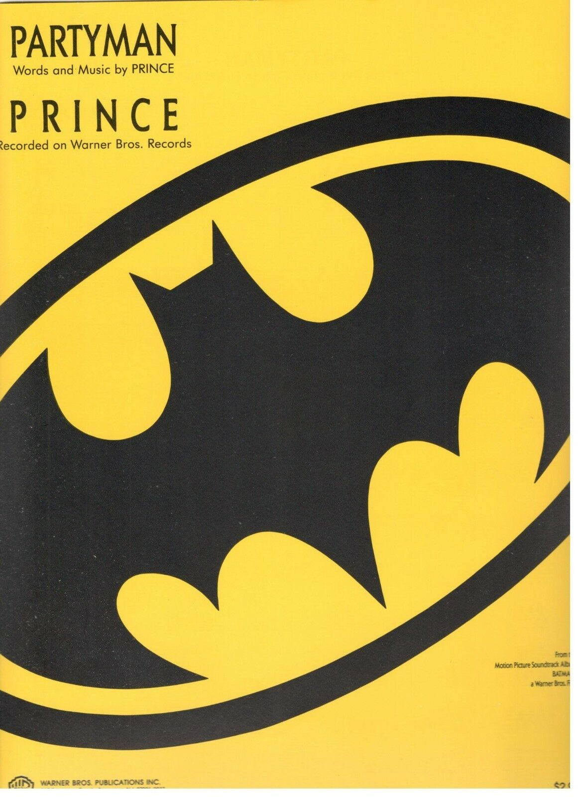 PRINCE  PARTYMAN  SHEET MUSIC-PIANO VOCAL GUITAR CHORDS-1989-BATMAN-RARE-NEW