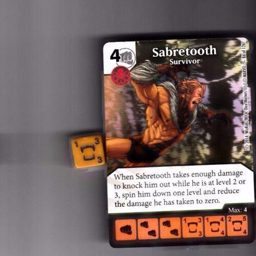 DICE MASTERS UNCANNY X-MEN UNCOMMON #86 SABRETOOTH SURVIVOR CARD WITH DICE