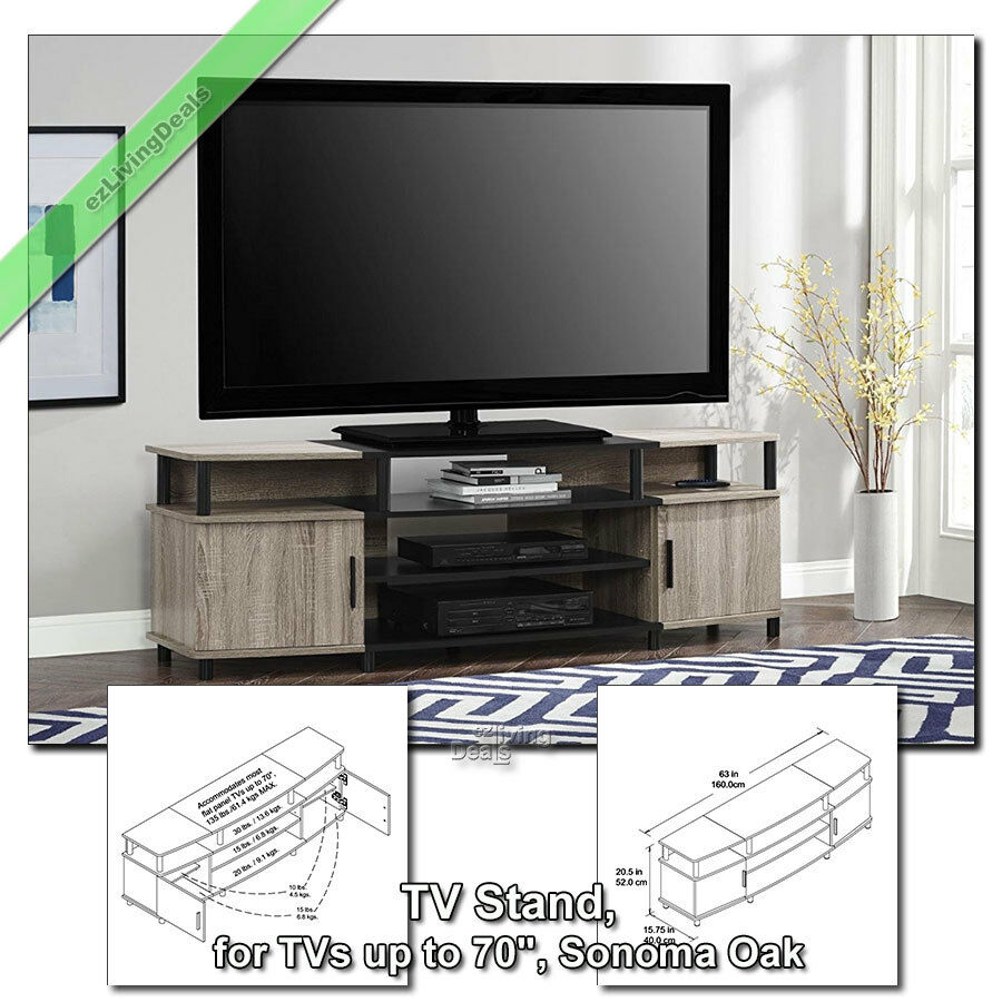 70 tv stand console table carson wood media stands for flat screens sonoma oak 34687208527 ebay. Black Bedroom Furniture Sets. Home Design Ideas