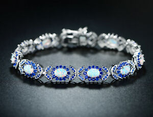 Sevil 18K White Gold Plated Created Opal & Created Sapphire Tennis Bracelet