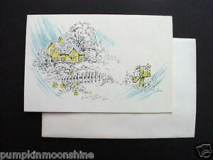 #f200- Vintage Unused Xmas Greeting Card Yellow Cottage & Silver Accents.