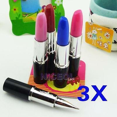 3 Pcs Lipstick Shape Ball Point Pen Lady Favor Office Stationery Set Cute Gift