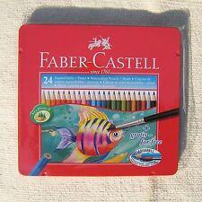 FABER-CASTELL Water Colour colored Pencils 24 Colors Set Aquarell Art Tin Case