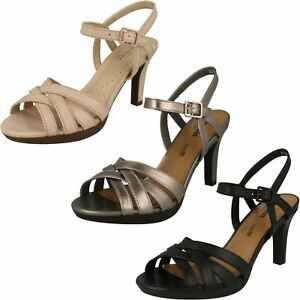6867332ca5c Image is loading LADIES-CLARKS-BUCKLE-LEATHER-SLINGBACK-EVENING-HEELED- SANDALS-