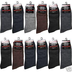 3-12 Pairs Men ST Geometric Cotton Casual Mid Calf Dress Socks Size 10-13
