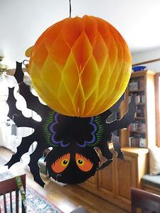 Vintage Beistle Die-Cut Cardboard Honeycomb Halloween Decorations-Spider