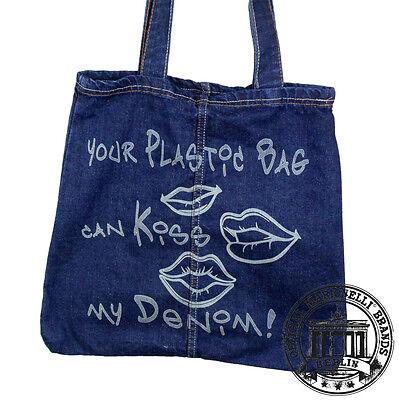 10.KISS MY DENIM Jeans Denim Tote Bag Marionelli Tasche Beutel Stofftasche