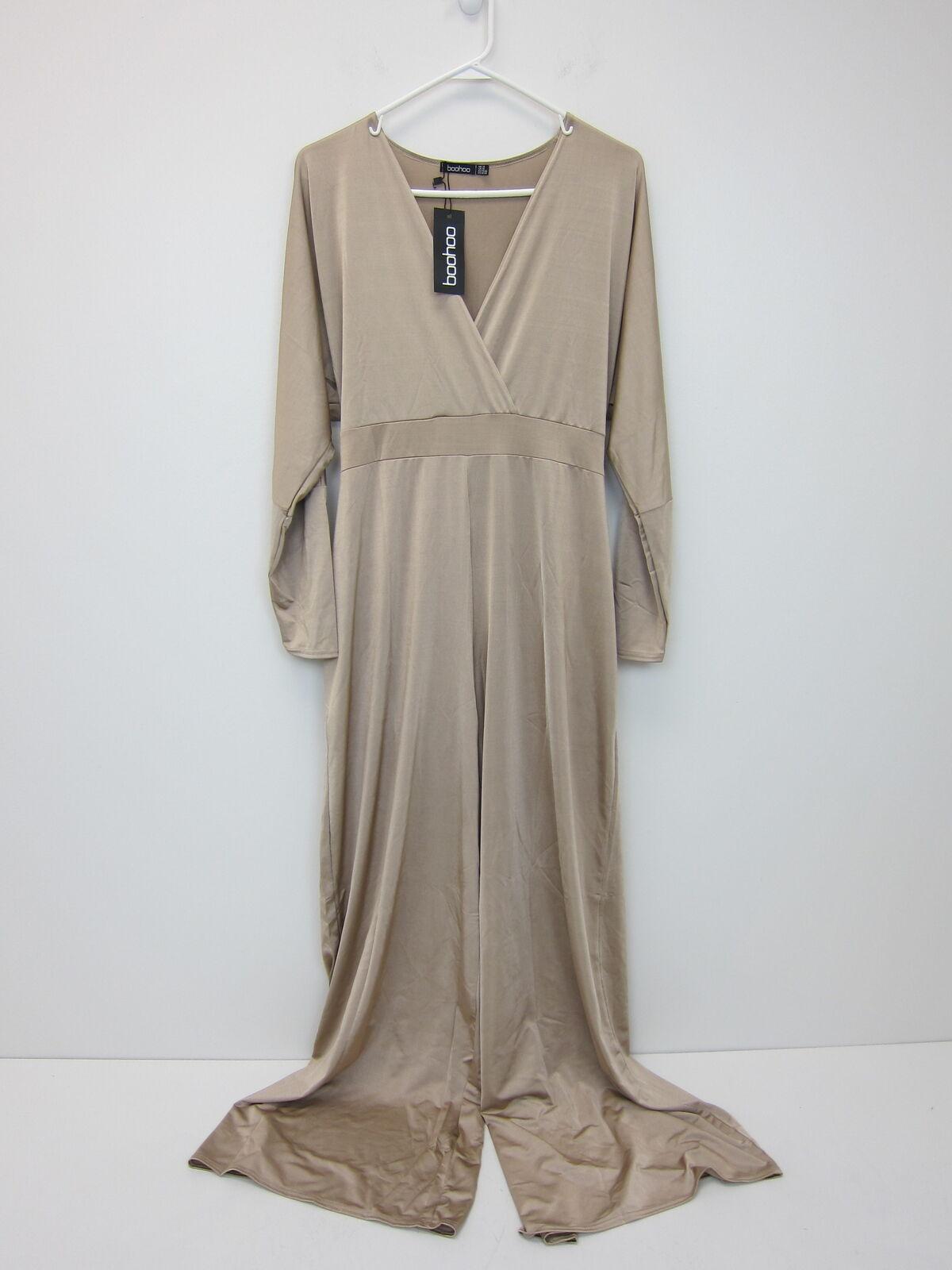 Boohoo Women's Plus Lois Slinky Wrap Tie Jumpsuit US 14 Caramel  NWT