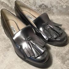 34ded62c660 item 2 CLARKS LADIES BUSBY FOLLY DARK PEWTER METALLIC LEATHER SHOES    LOAFERS UK 5D