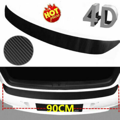 4D Carbon Fiber Auto Rear Back Trunk Tail Lip Protect Decal Sticker Car Styling